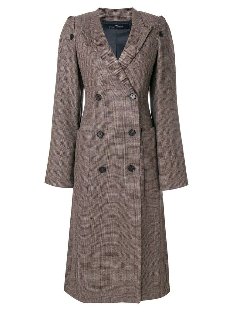 Rokh checked double breasted coat - Brown