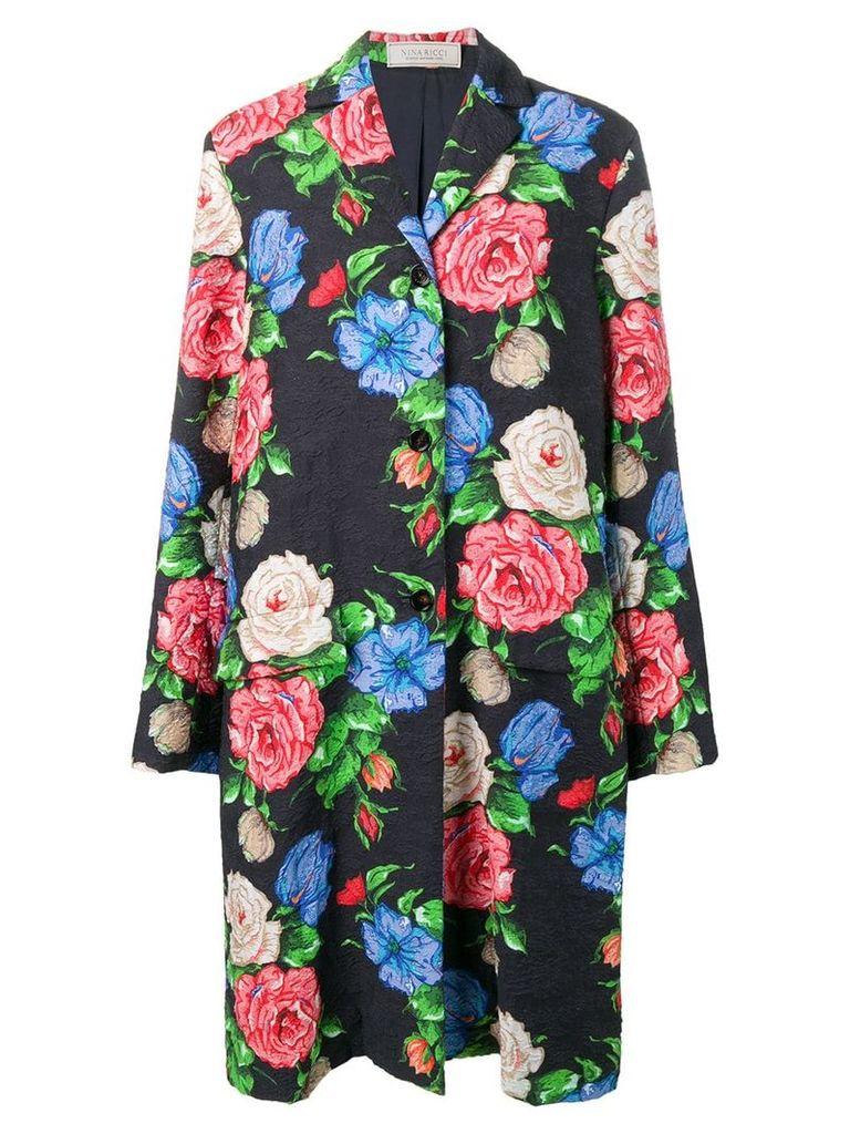 Nina Ricci floral brocade coat - Black