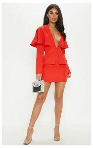 Red Cape Blazer Style Bodycon Dress, Red
