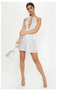 Silver Sequin Plunge Halterneck Skater Dress, Grey