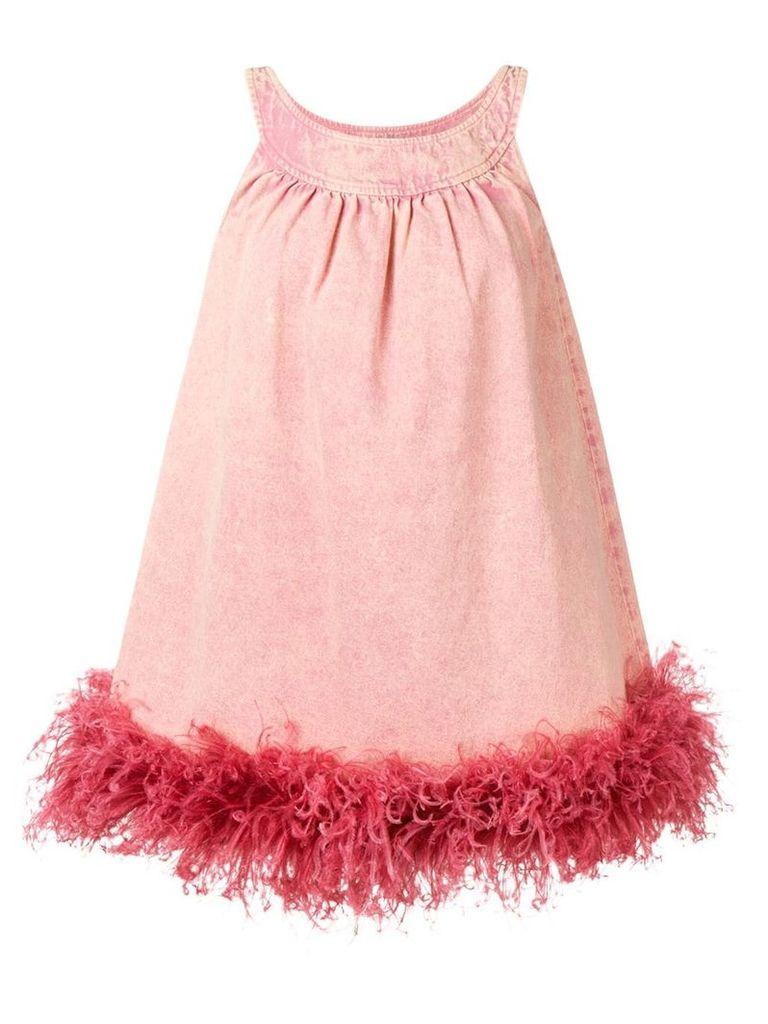 Miu Miu ostrich feather trim dress - Pink