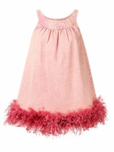 Miu Miu ostrich feather trim dress - Pink