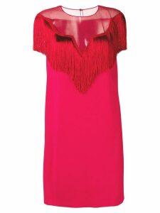 Alberta Ferretti fringed shift dress - Red