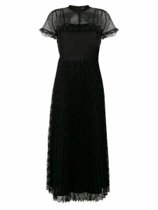 Red Valentino rhinestone organza and lace dress - Black