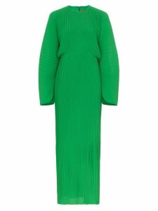 Solace London Mirabelle micro pleated long sleeve maxi dress - Green