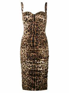 Dolce & Gabbana leopard print midi dress - Neutrals