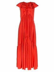 Three Graces Whilhelmina silk layered ruffle neck dress