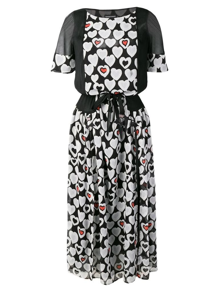 Emporio Armani hearts print dress - Black