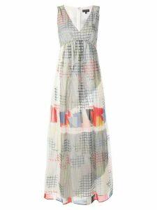 Emporio Armani v-neck geometric print dress - White