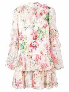 Philipp Plein floral scarf neck dress - Neutrals