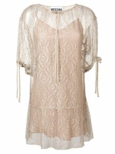 Moschino drawstring neck dress - Neutrals