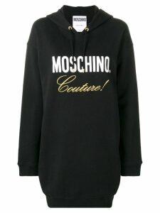 Moschino logo hooded sweatshirt dress - Black