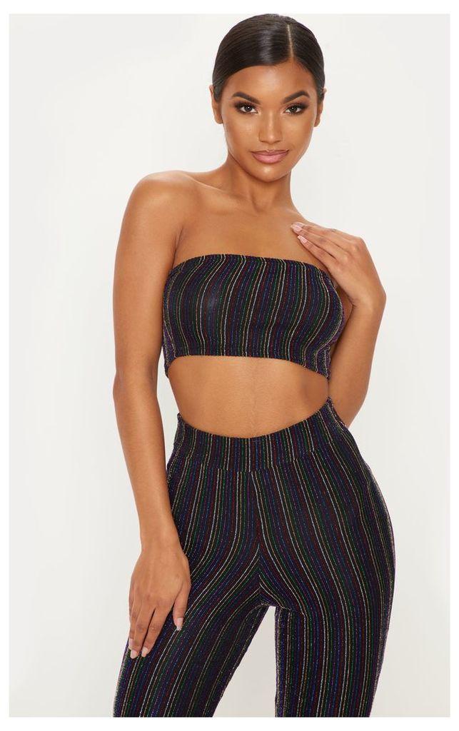 Black Rainbow Stripe Glitter Crop Top, Black