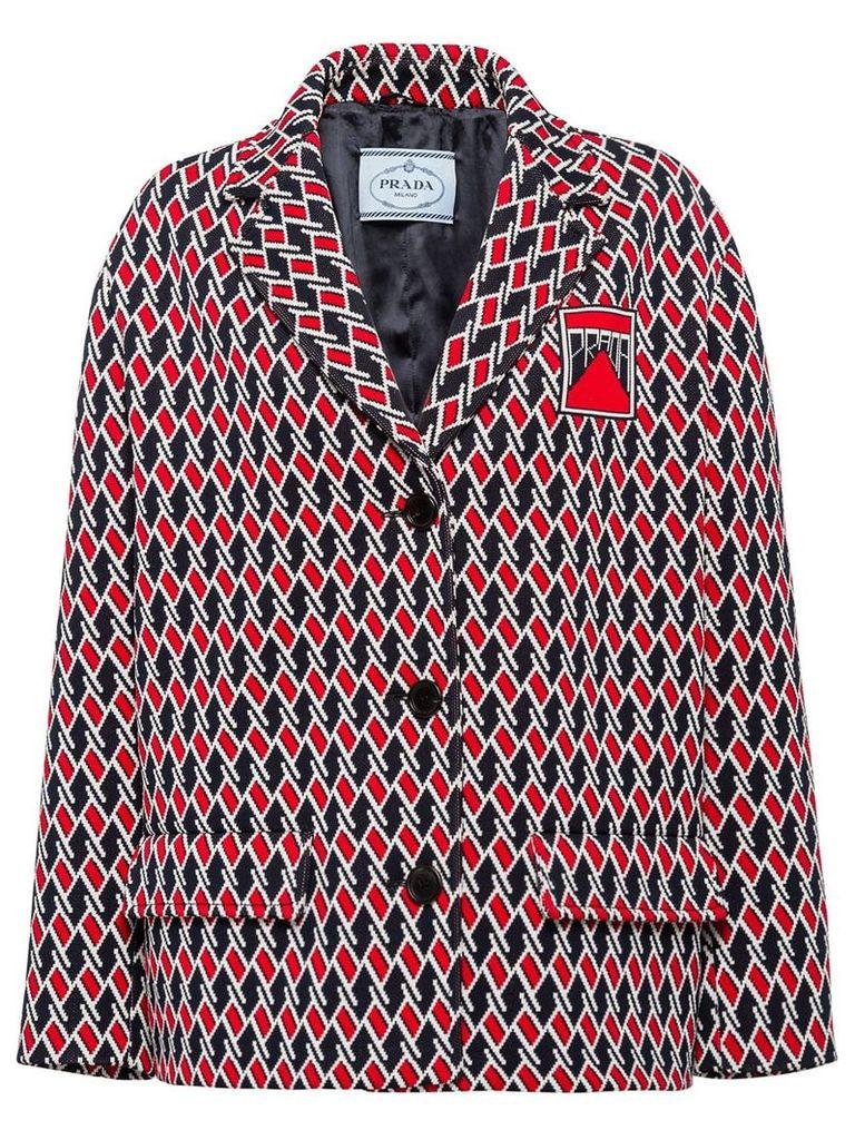 Prada Jacquard caban jacket - Blue