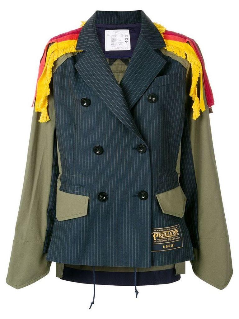 Sacai layered double-breasted blazer - Green