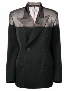 Maison Margiela sheer panel blazer - Black