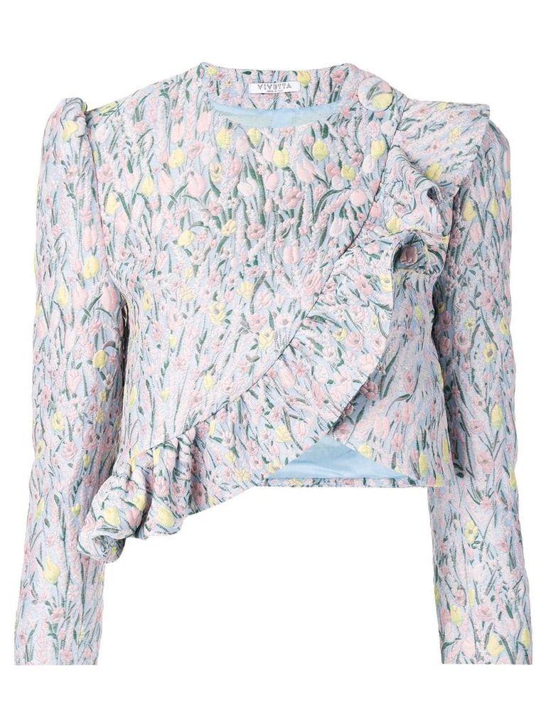 Vivetta floral pattern embroidered jacket - Blue