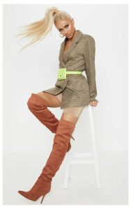 Brown Checked Woven Blazer, Brown