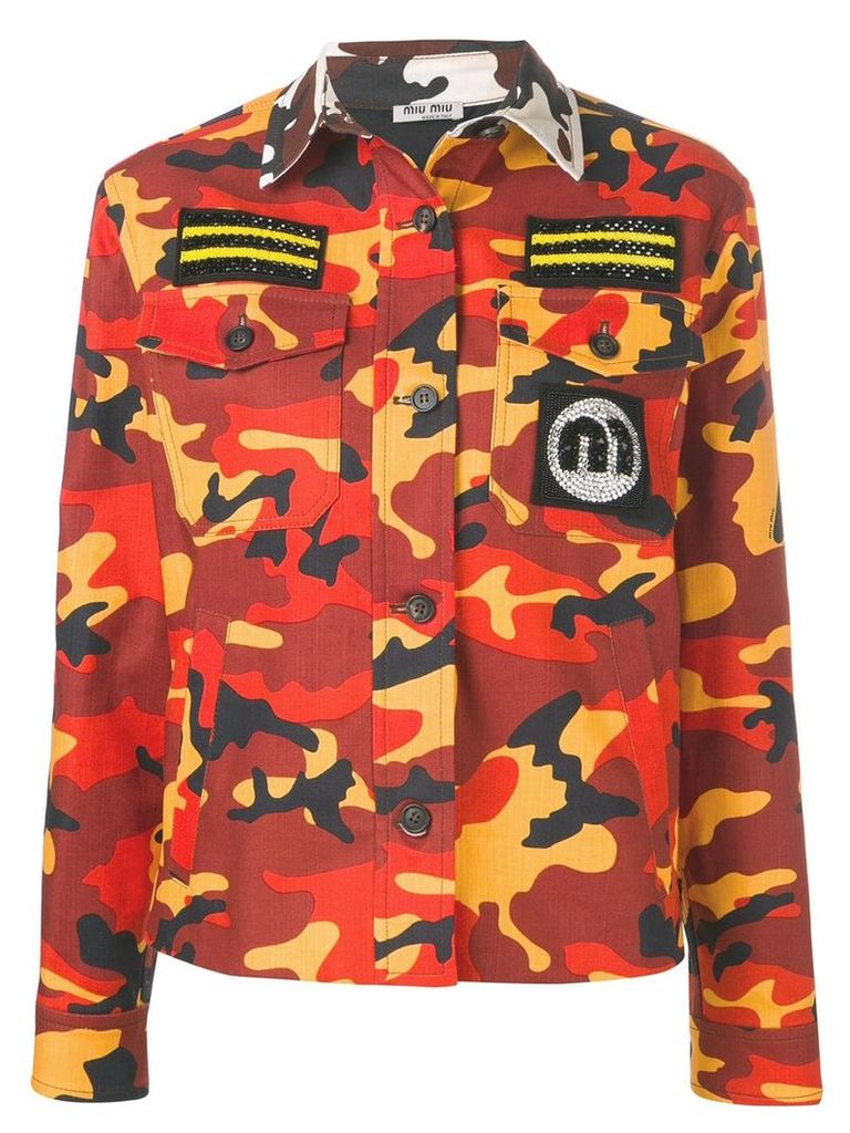 Miu Miu camouflage military jacket - Brown