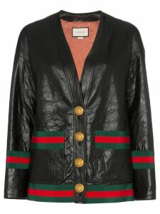 Gucci contrast trim button down leather jacket - Black