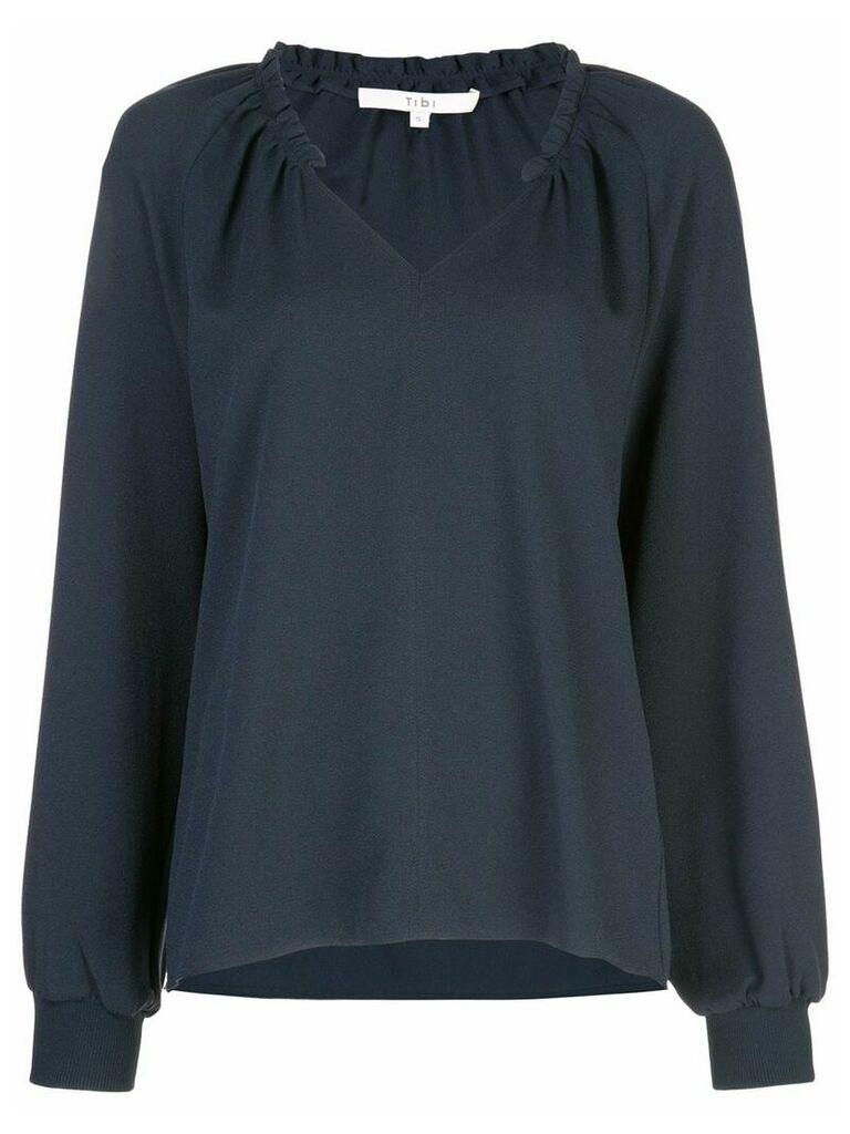 Tibi ruffle neck blouse - Blue