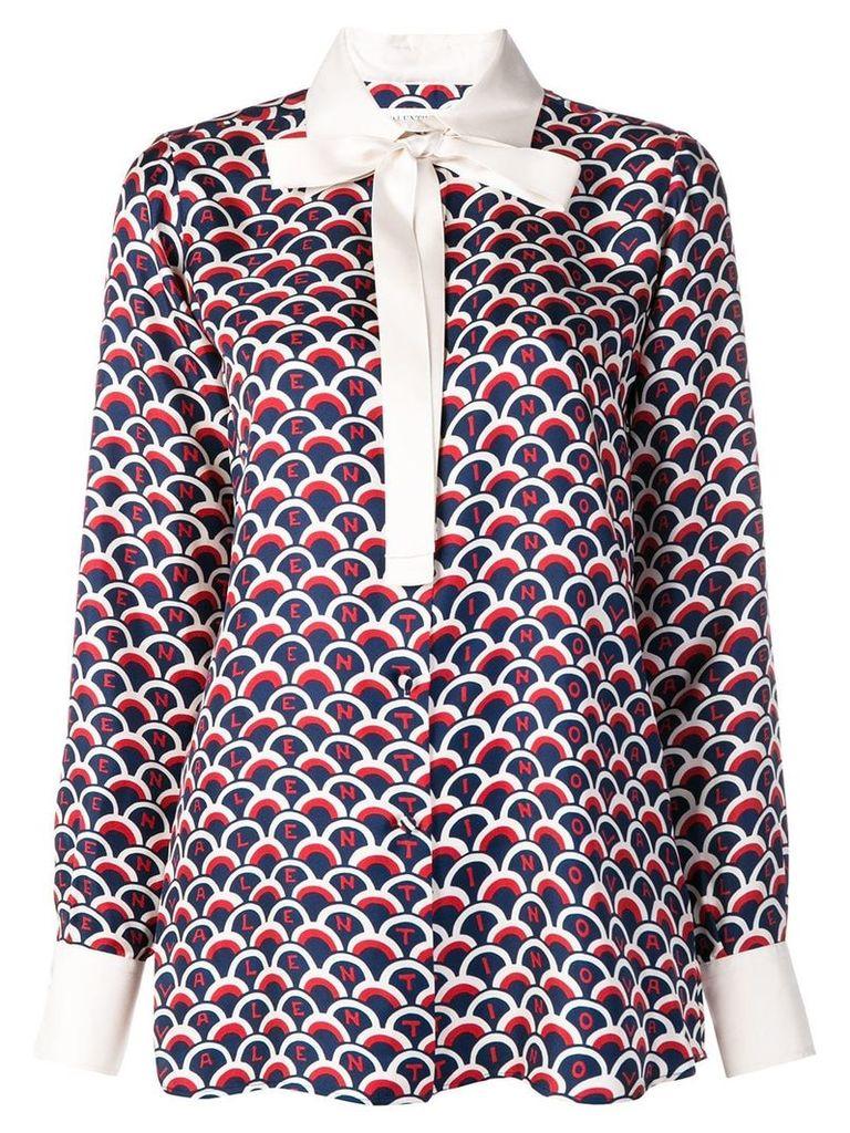 Valentino logo scale print blouse - Blue