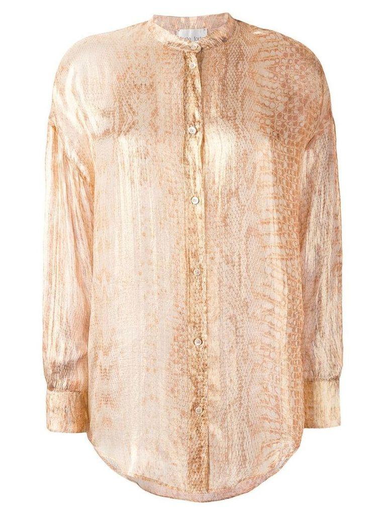 Forte Forte snakeskin print shirt - Gold