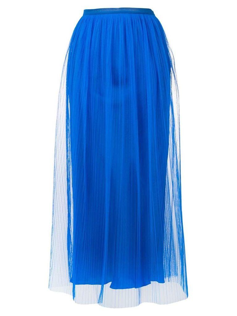 Maison Margiela sheer layered micropleated midi skirt - Blue