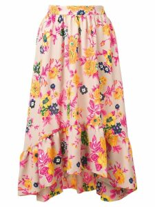 MSGM asymmetric floral print skirt - Neutrals