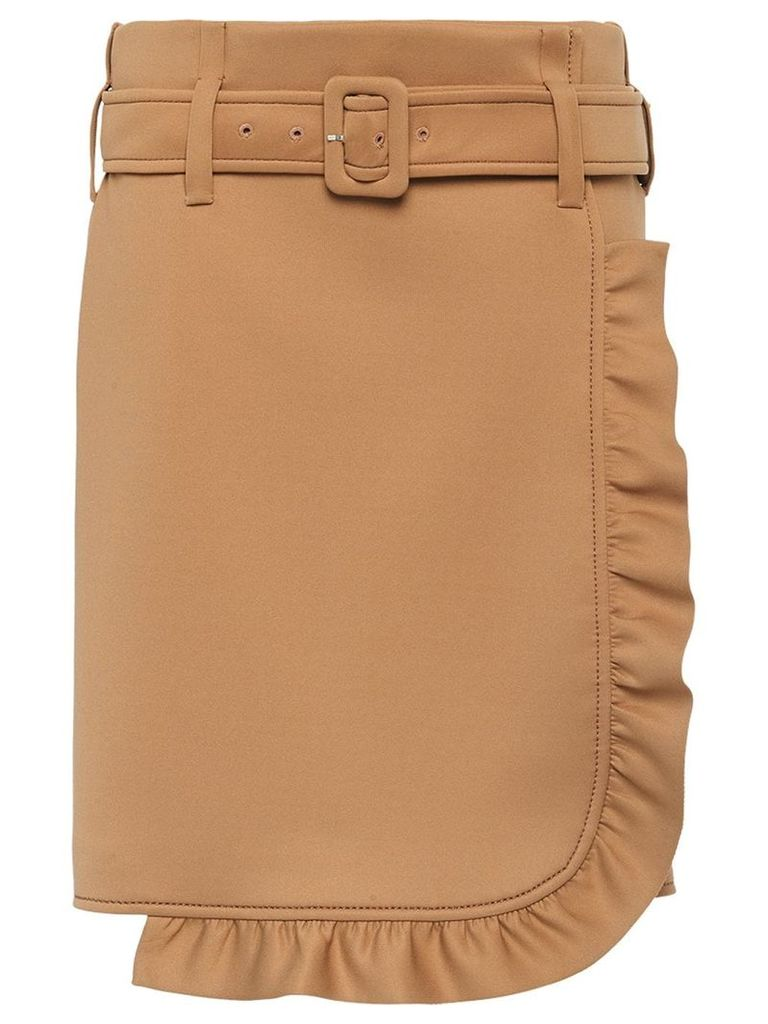 Prada Technical jersey skirt with ruffles - Neutrals