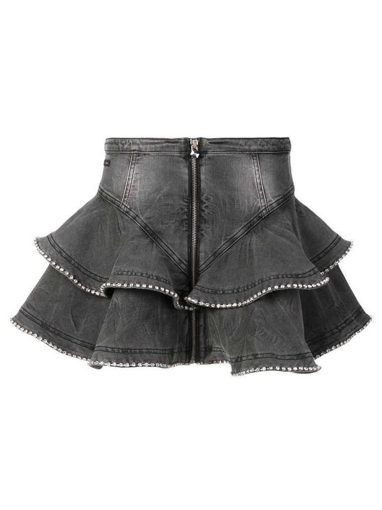 Philipp Plein short ruffled skirt - Grey