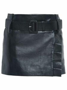 Prada Leather miniskirt with belt and ruffles - Black