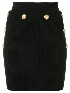 Balmain knitted button mini skirt - Black