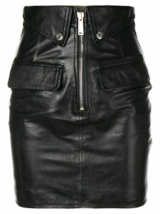 Dsquared2 flap detail leather skirt - Black