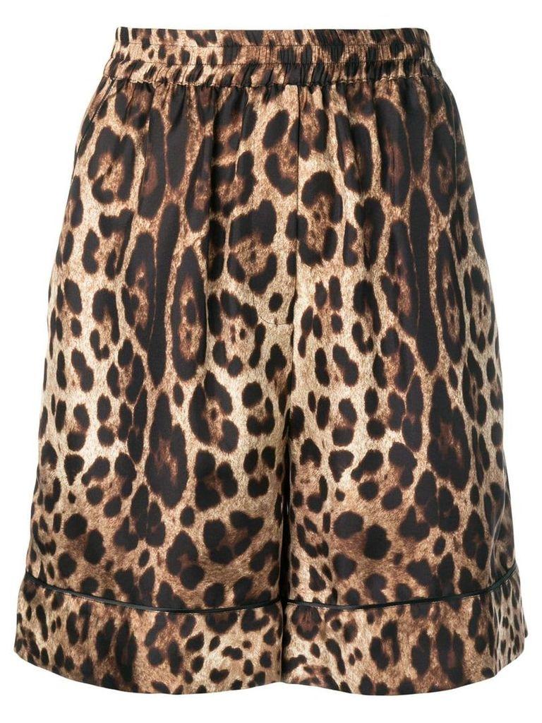 Dolce & Gabbana leopard print shorts - Brown