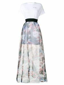 Palm Angels high waisted full skirt - White