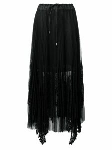 Sacai pleated lace skirt - Black
