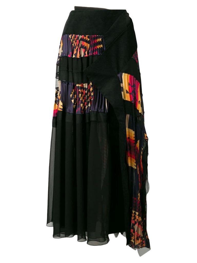 Sacai Navajo pleated wrap skirt - Black