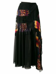 Sacai Navajo pleated wrap skirt - Black