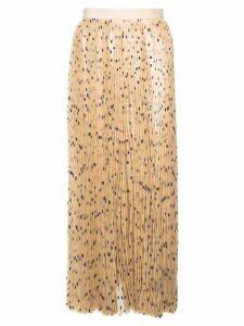 Khaite polka dot pleated skirt - Brown