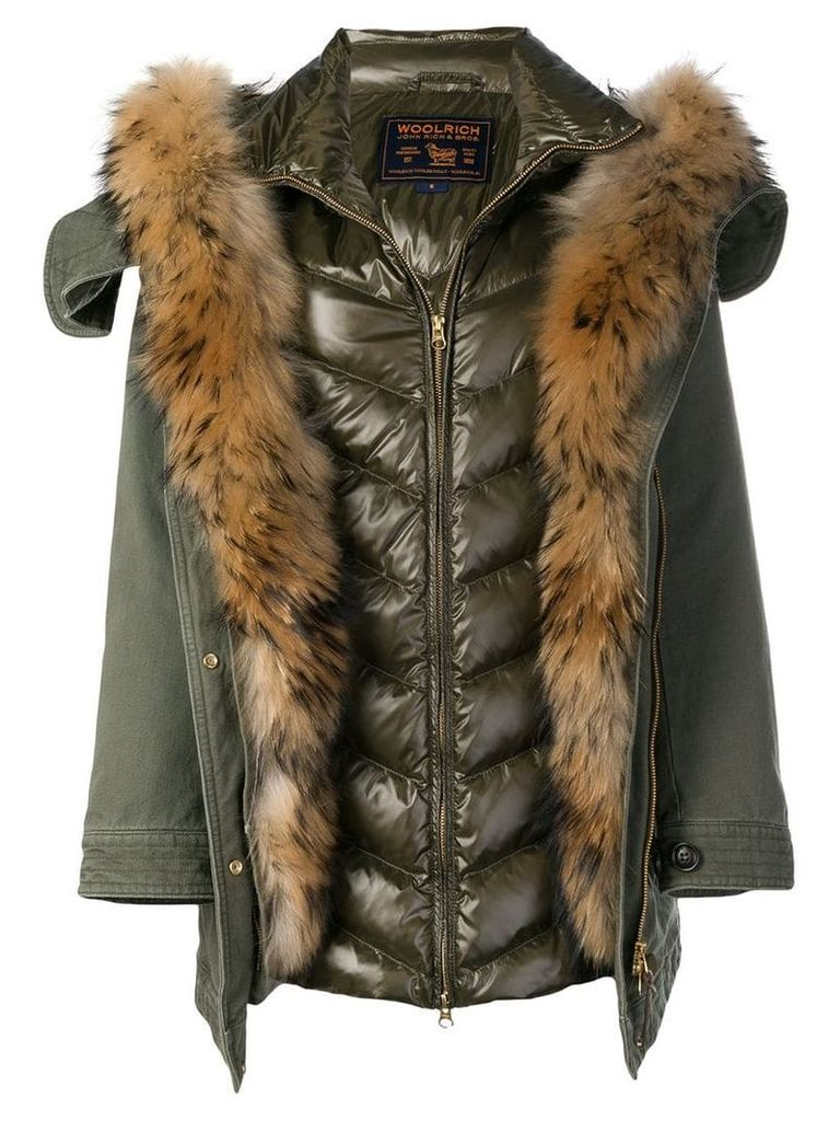 Woolrich padded parka with fur lining - Green