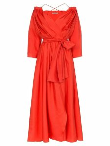 Three Graces Tessa open-shoulder silk wrap dress - Red