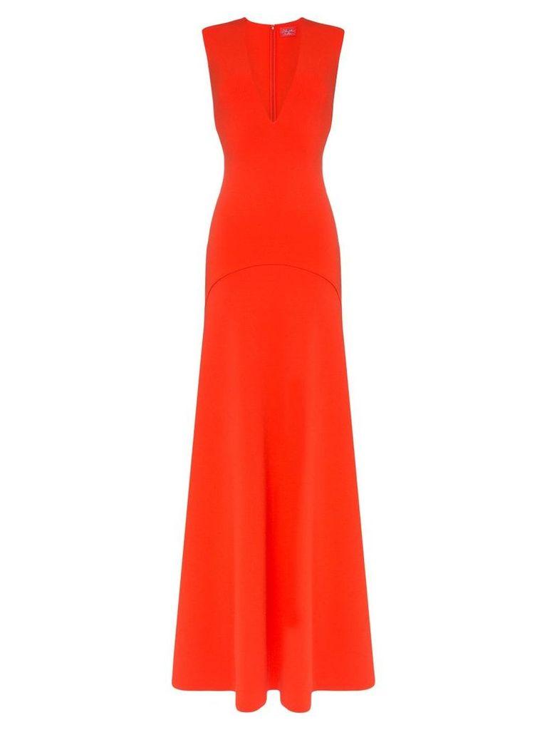 Solace London Seine plunge neck flared maxi dress