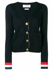 Thom Browne Grosgrain Cuff Wool Cardigan - Blue