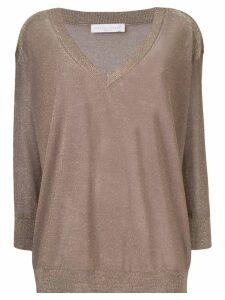 Fabiana Filippi metallic V-neck sweater - Brown