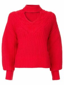 Self-Portrait knitted choker jumper - Red
