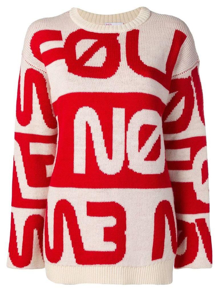 Red Valentino knitted slogan jumper - White