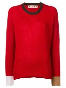 Marni contrast trim jumper - Red