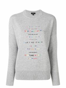 Theory crew neck embroidered jumper - Grey