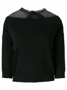Red Valentino lace panel knitted top - Black